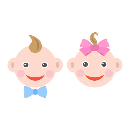cute baby faces of a boy and a girl