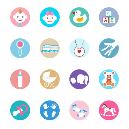 Maternity and childhood colorful icons. Иллюстрация