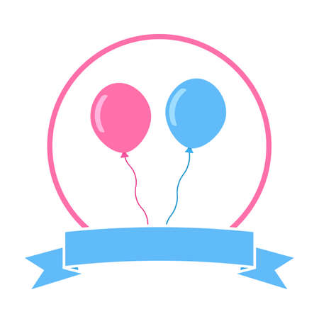 newborn baby emblem with pink and blue balloons