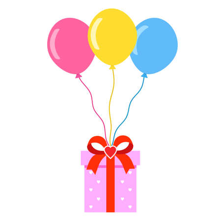birthday gift box with colorful balloons