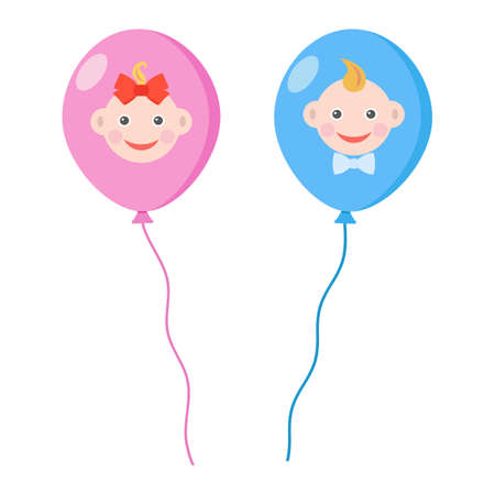 air balloons with faces of a boy and a girl Иллюстрация