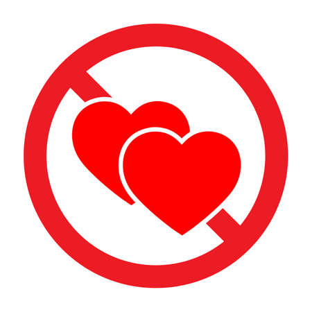 Forbidden sign with heart icon. Иллюстрация