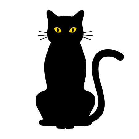 black cat on a white background Иллюстрация
