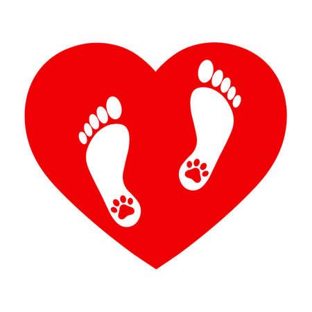 footprints of man and dog 일러스트