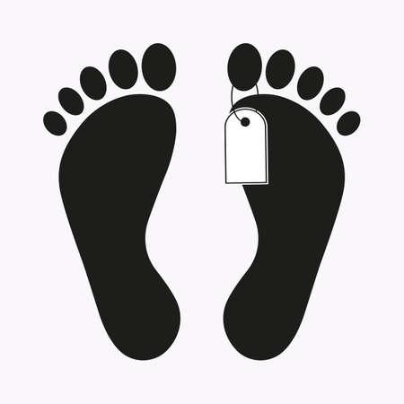 Piernas con etiqueta de muerte. Ilustración de vector