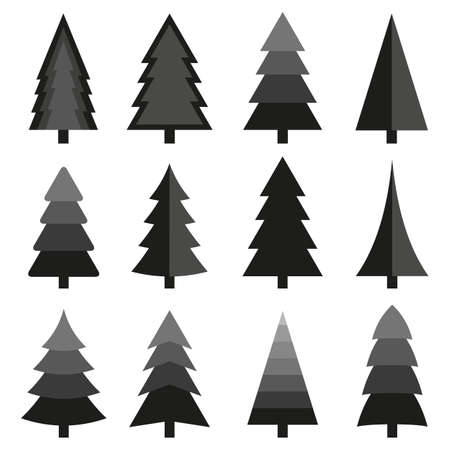 Illustration set of christmas tree icon. Иллюстрация