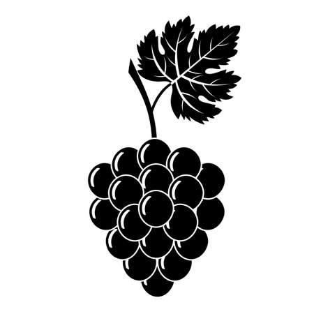 Black silhouette of grapes on a white background.
