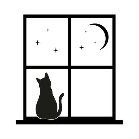 cat in the window against the night sky Иллюстрация