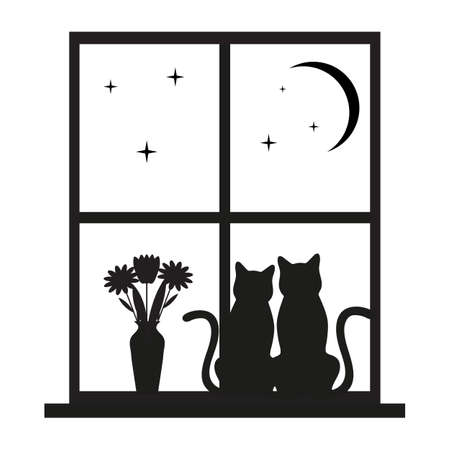 two cats in a window on a background of the starry sky