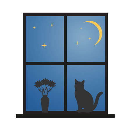 cat sitting on the window against the starry sky Иллюстрация