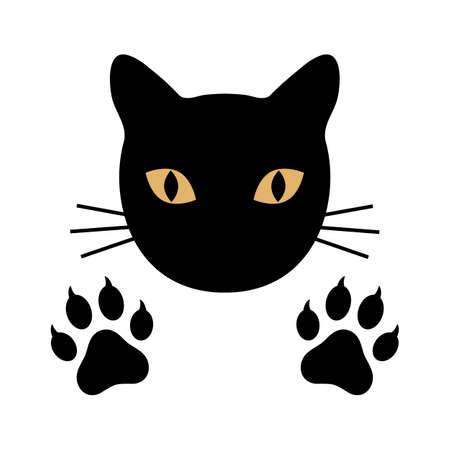 silhouette black cat head with paws