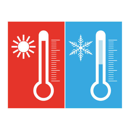 Blue and red thermometers with the image of the sun Illusztráció