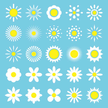 Camomile set. White daisy flowers silhouette icon.