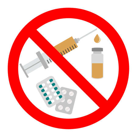 sign forbidden drugs in red crossed