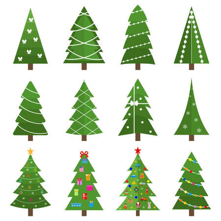 Collection of beautiful Christmas trees