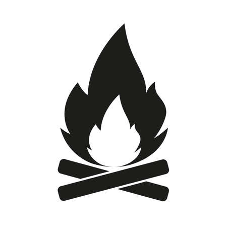 Tourist fire symbol. Flame on logs
