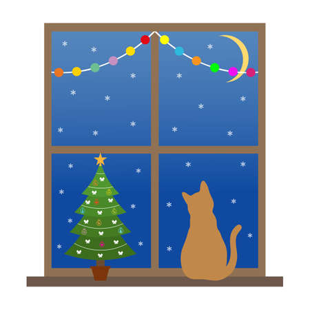 cat sits on a window with a Christmas tree
