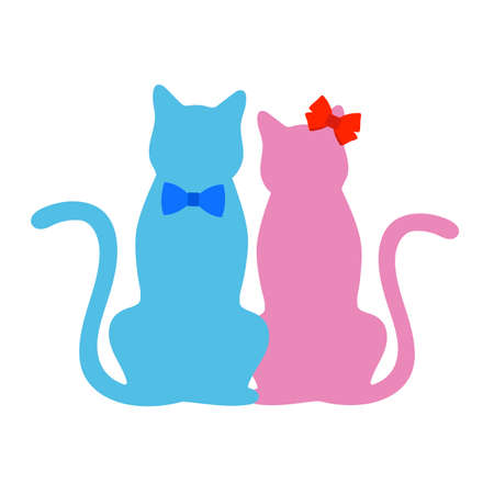 two cats with bows on a white background Illusztráció