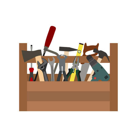 illustration of a construction box with tools