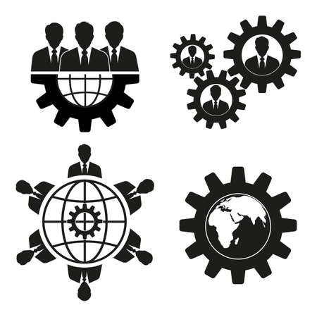 Set of business people on a background of the globe. Иллюстрация