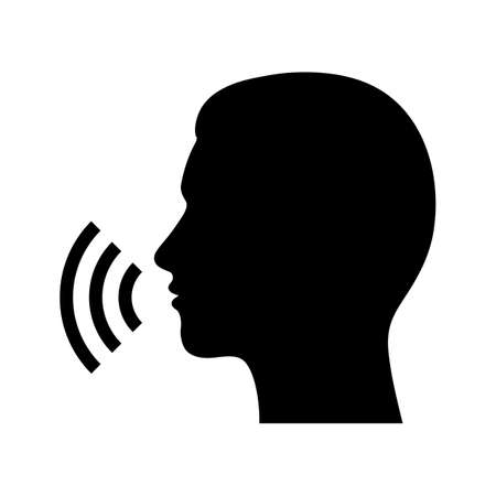 black silhouette of a mans head with speech