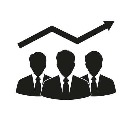 Growth chart and progress in a team of businessmen. Çizim