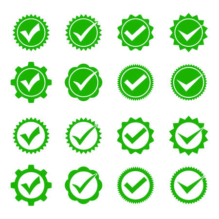 set of green check marks in a circle