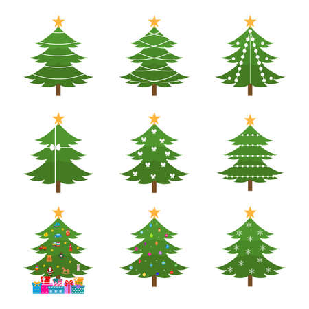 Christmas Tree flat icons set.