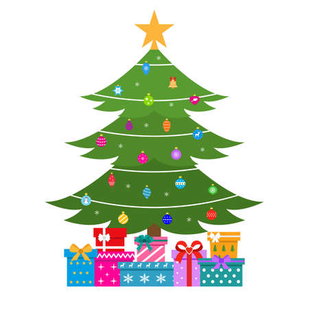 green christmas tree with toys and gifts 일러스트