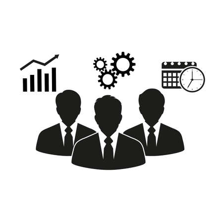 Silhouettes of business people on white background.