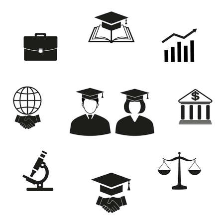 set of education symbols and silhouettes of students