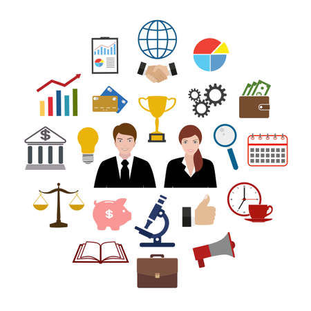 Business set and essential, advertising, banking and finance Ilustracja