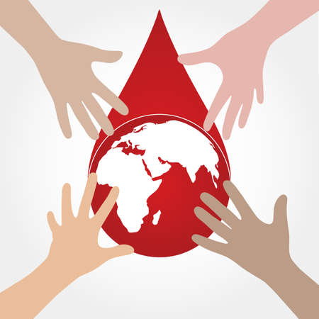Blood donation. Blood Donor and the globe. Red drop.