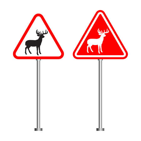 road sign warning about the possible presence of animals