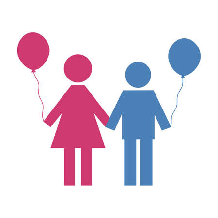 silhouettes of a boy and a girl with balloons