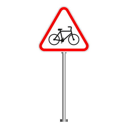 Warning sign bike in a red triangle