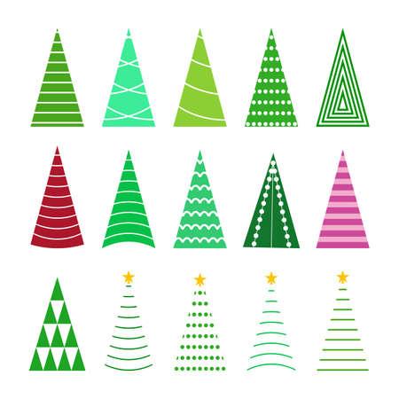 set green christmas tree collection Zdjęcie Seryjne - 133674066