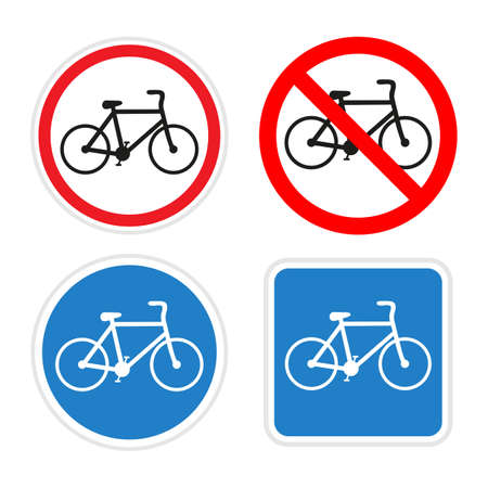 illustration of bicycle traffic signs on a white background Ilustracja