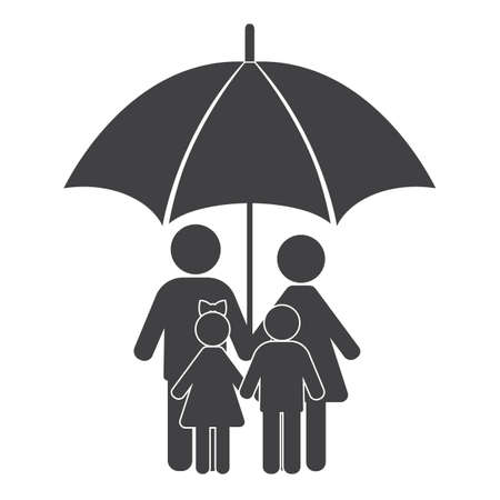 Man, woman and children hold hands under an umbrella.