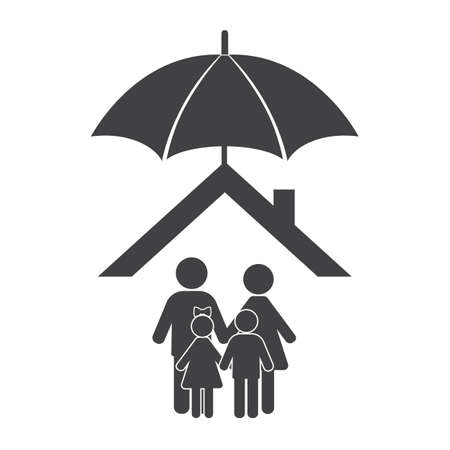 Home with family protected under umbrella flat design.