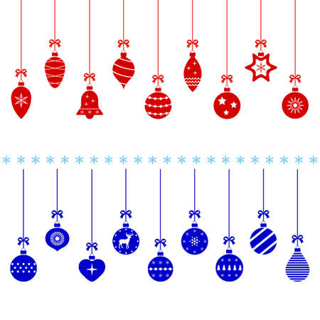 red and blue christmas balls on white background Ilustracja