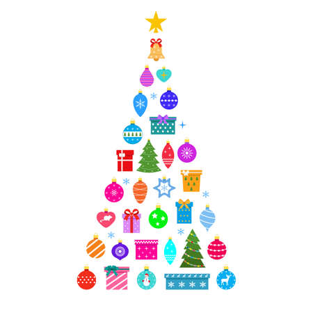 A set of Christmas tree-shaped toys with a yellow star 일러스트