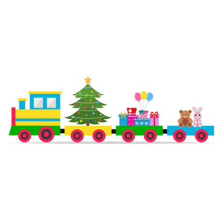 multi-colored toy train with a Christmas tree, gifts and toys on a white background