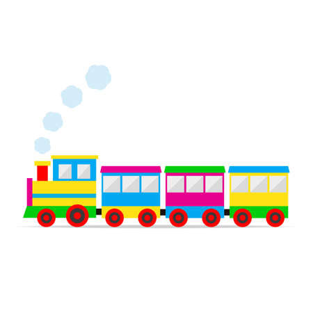 multicolored toy train with smoke and shadow on a white background