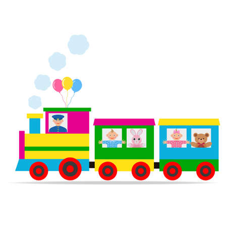 multi-colored toy locomotive with a boy, girl, animals and a driver