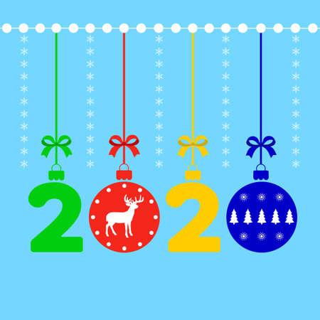 Illustration of Happy New Year 2020 background decoration. 일러스트
