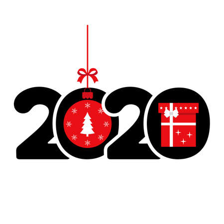 Happy New Year 2020 Card with gift and Christmas decoration