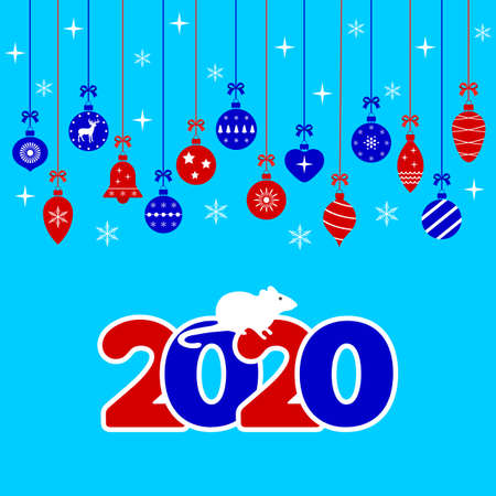 new year background with christmas balls and snowflakes Ilustracja
