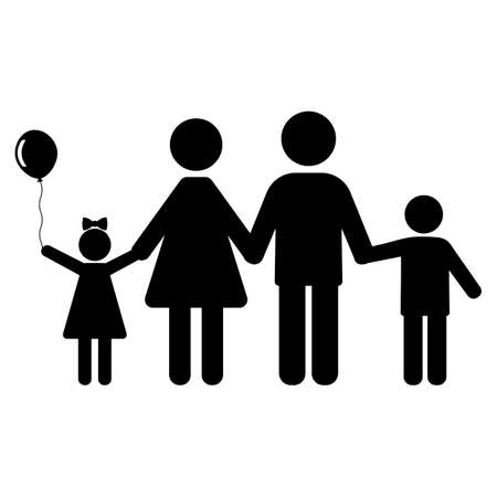 family symbol. Silhouettes of man, woman and children