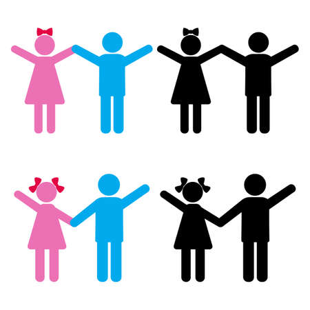 set of silhouettes of children holding hands.